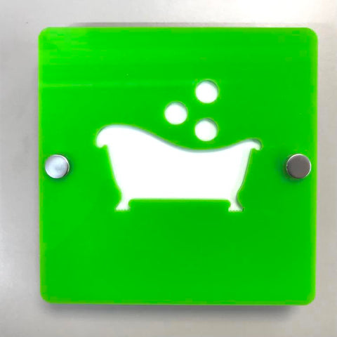 "Square Bathroom ""Bath & Bubbles"" Sign - Lime Green & White Gloss Finish"