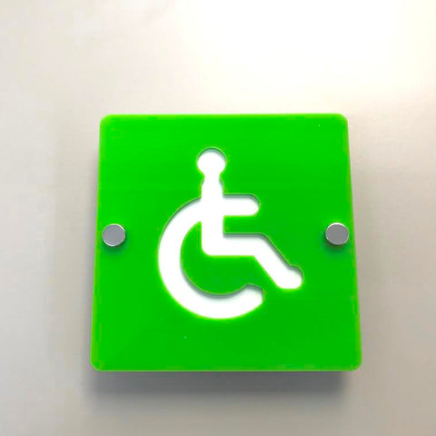 Square Disabled Toilet Sign - Lime Green & White Gloss Finish