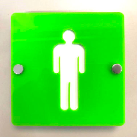 Square Male Toilet Sign - Lime Green & White Finish