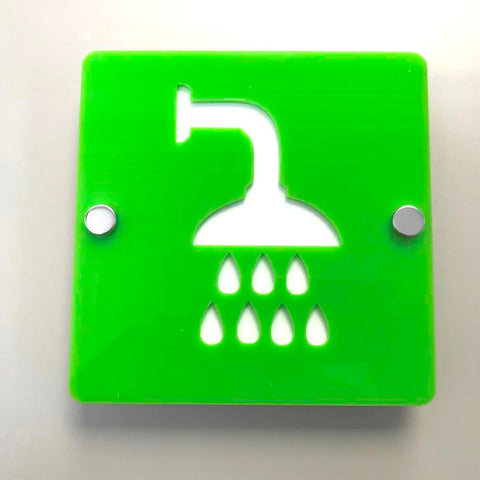 Square Shower Sign - Lime Green & White Gloss Finish