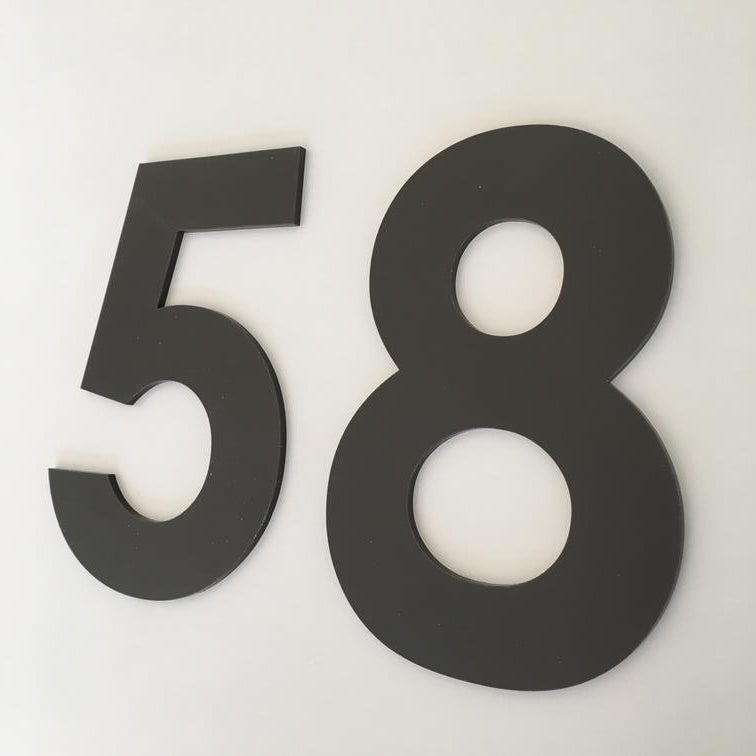 Mocha Matt, Flat Finish, House Numbers - Century Gothic