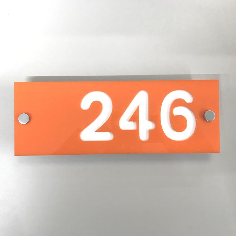 Rectangular Number House Sign - Orange & White Matt Finish