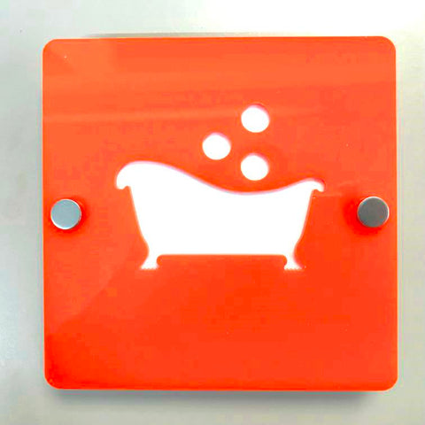 "Square Bathroom ""Bath & Bubbles"" Sign - Orange & White Gloss Finish"