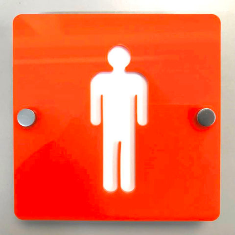 Square Male Toilet Sign - Orange & White Finish