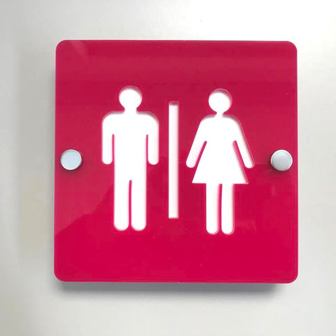 Square Male & Female Toilet Sign - Pink & White Gloss Finish