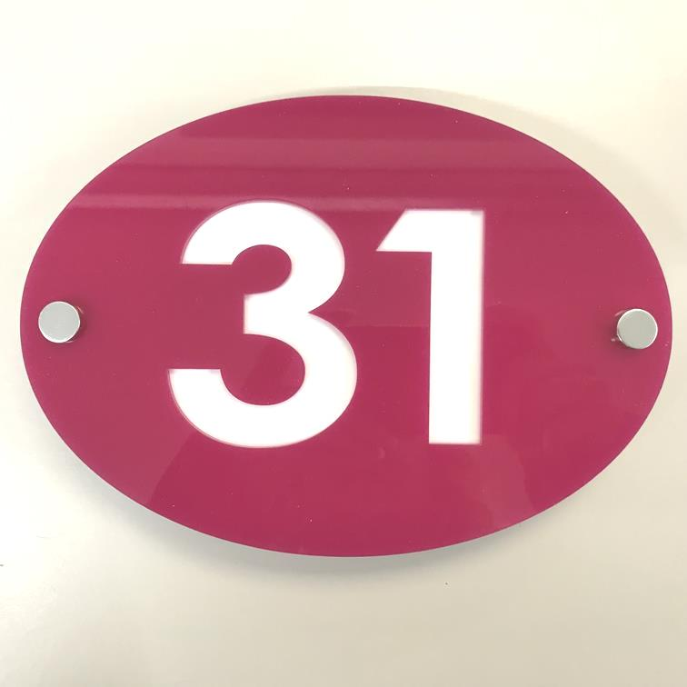 Oval House Number Sign - Pink & White Gloss Finish