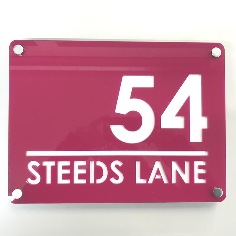 Large Rectangular House Number & Street Name Sign - Pink & White Gloss Finish