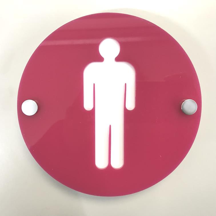 Round Male Toilet Sign - Pink & White Gloss Finish