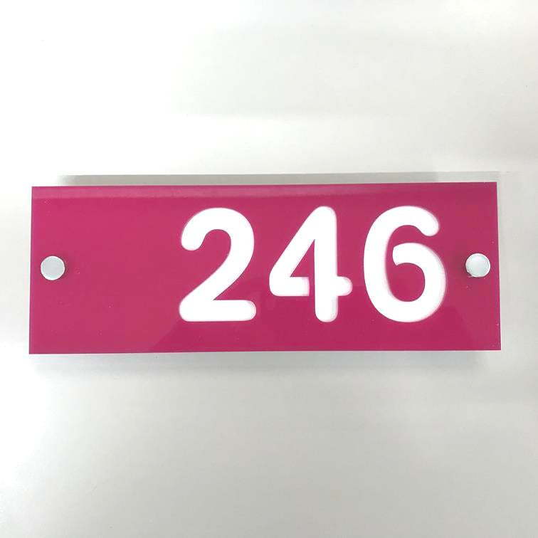Rectangular Number House Sign - Pink & White Matt Finish