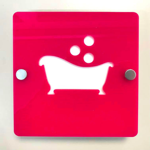 "Square Bathroom ""Bath & Bubbles"" Sign - Pink & White Gloss Finish"