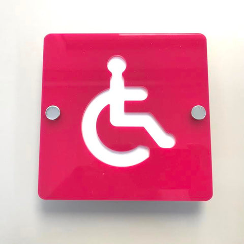 Square Disabled Toilet Sign - Pink & White Gloss Finish