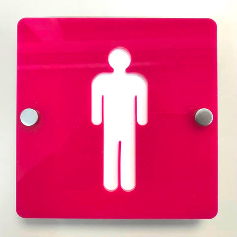 Square Male Toilet Sign - Pink & White Finish