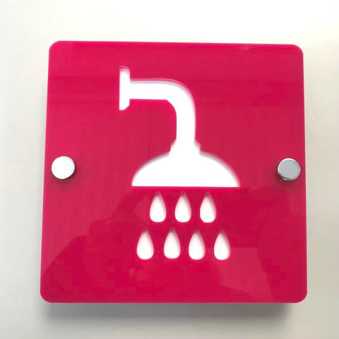 Square Shower Sign - Pink & White Gloss Finish