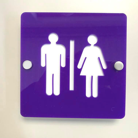 Square Male & Female Toilet Sign - Purple & White Gloss Finish