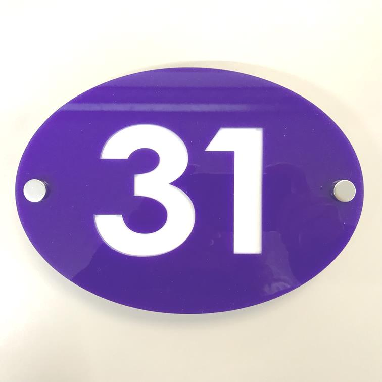 Oval House Number Sign - Purple & White Gloss Finish