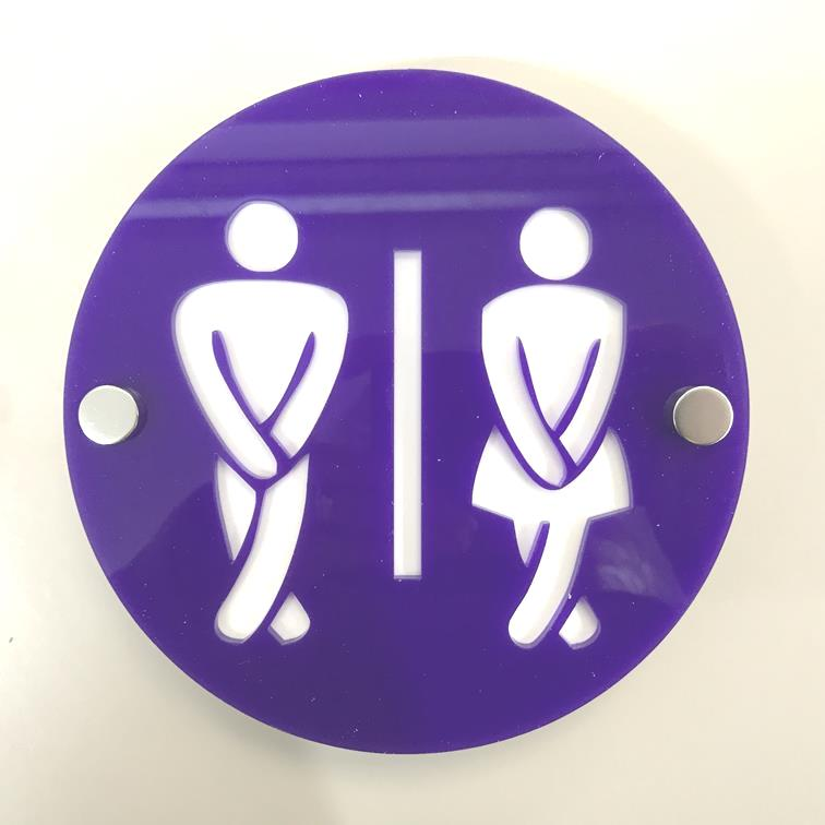 Round Cross Legged Male & Female Toilet Sign - Purple & White Gloss Finish