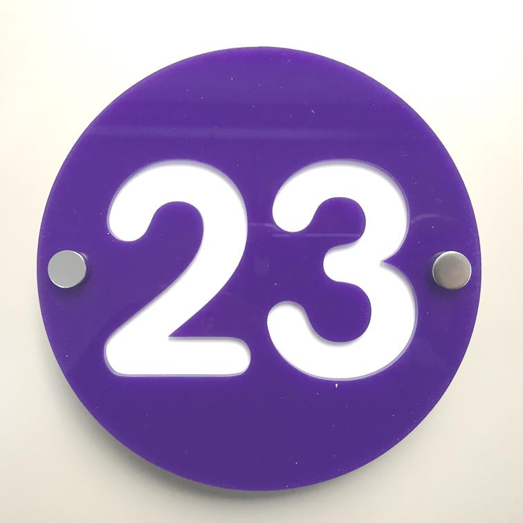 Round Number House Sign - Purple & White Gloss Finish