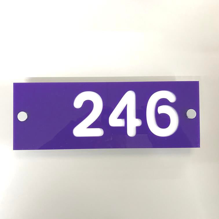 Rectangular Number House Sign - Purple & White Matt Finish
