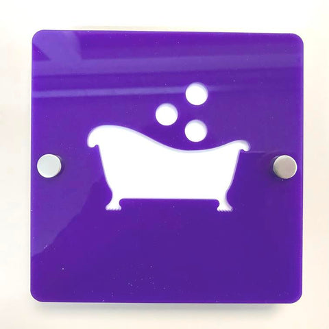 "Square Bathroom ""Bath & Bubbles"" Sign - Purple & White Gloss Finish"