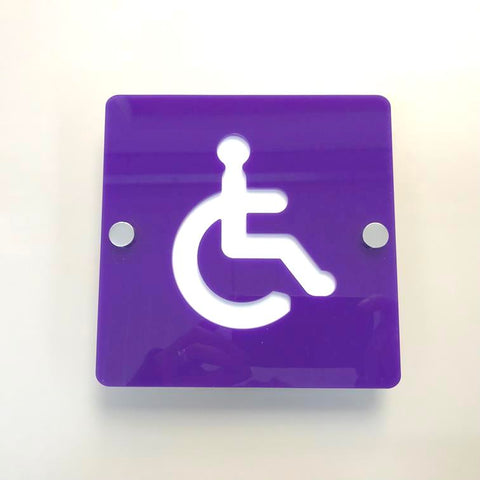 Square Disabled Toilet Sign - Purple & White Gloss Finish