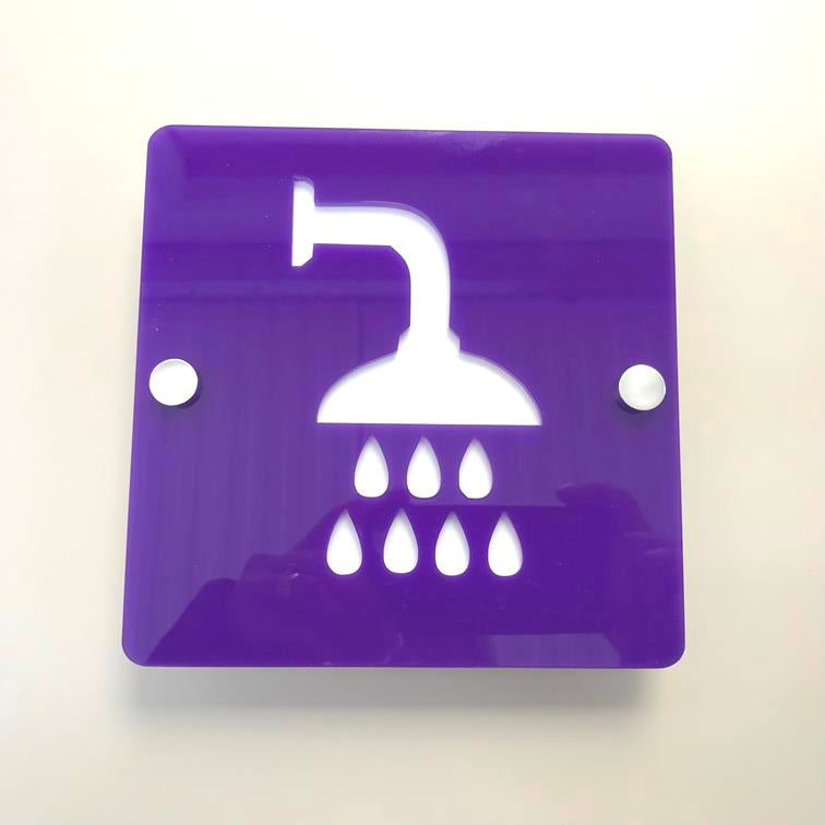 Square Shower Sign - Purple & White Gloss Finish