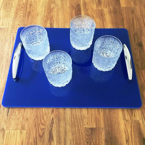 Rectangular Serving Tray with Handle - Blue