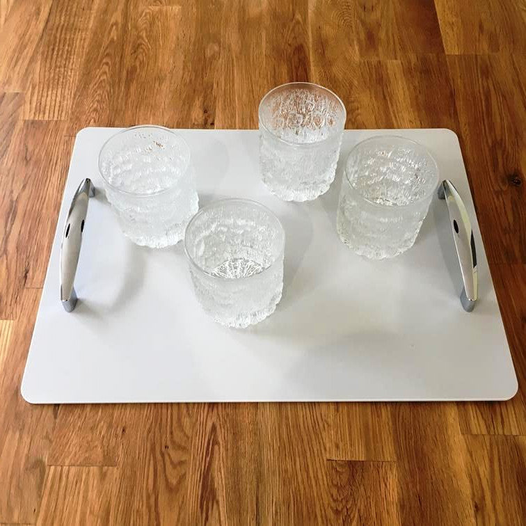 Rectangular Serving Tray with Handle - Light Grey