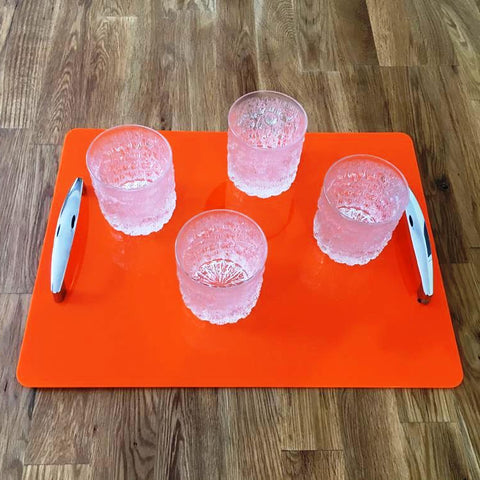 Rectangular Serving Tray with Handle - Orange