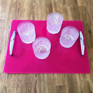 Rectangular Serving Tray with Handle - Pink