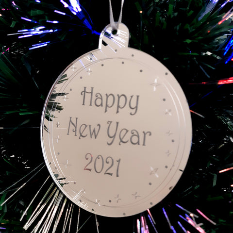 "Bauble ""Happy New Year"" Engraved Christmas Tree Decorations Mirrored"