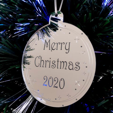 "Bauble ""Merry Christmas & Year"" Engraved Christmas Tree Decorations Mirrored"