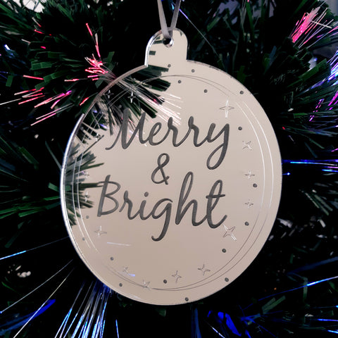 "Bauble ""Merry & Bright"" Engraved Christmas Tree Decorations Mirrored"