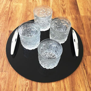 Round Serving Tray with Handle - Black
