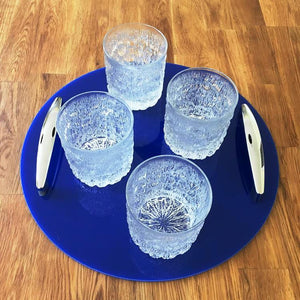 Round Serving Tray with Handle - Blue