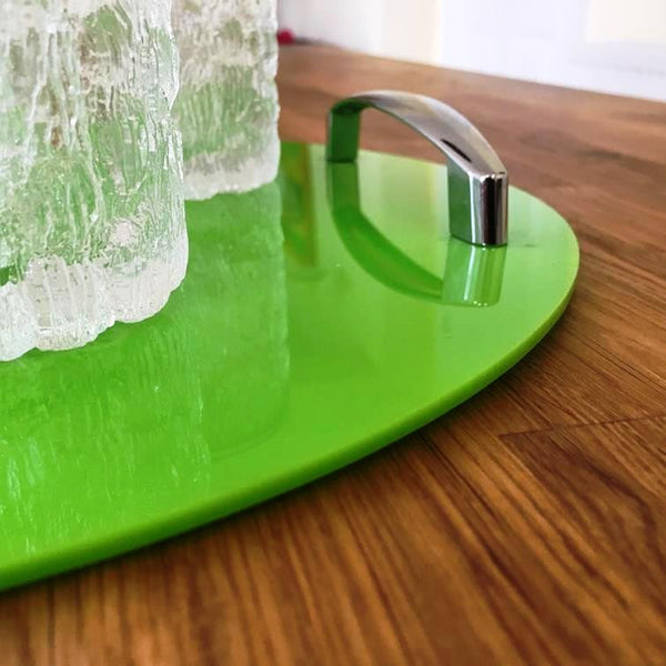 Round Serving Tray with Handle - Lime Green