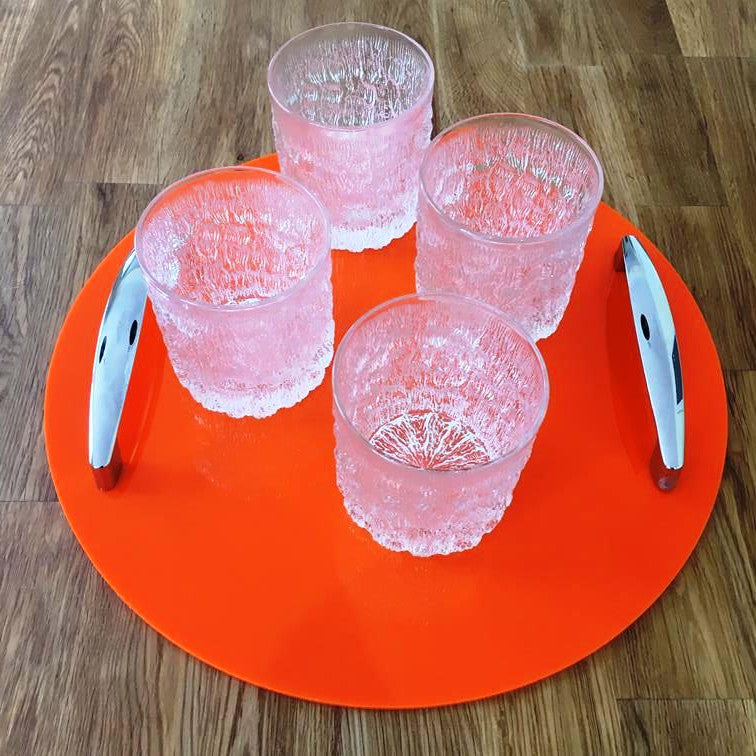 Round Serving Tray with Handle - Orange