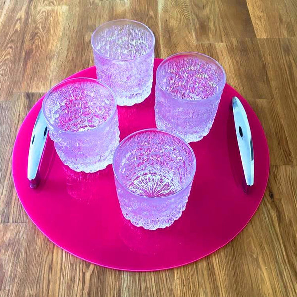 Round Serving Tray with Handle - Pink