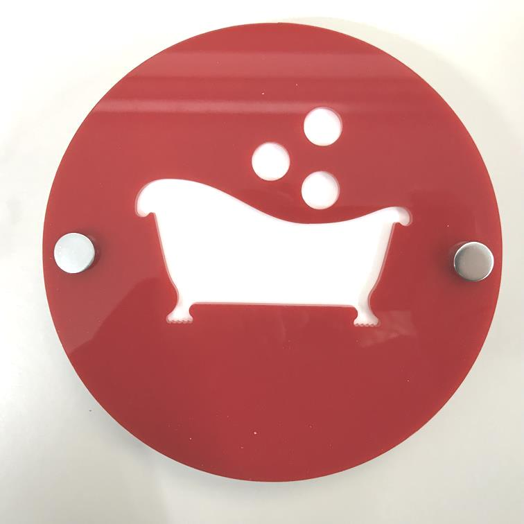 "Round Bathroom ""Bath & Bubbles"" Sign - Red & White Gloss Finish"
