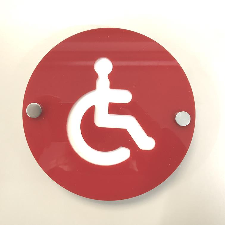 Round Disabled Toilet Sign - Red & White Gloss Finish
