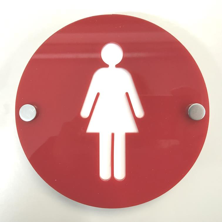 Round Female Toilet Sign - Red & White Gloss Finish