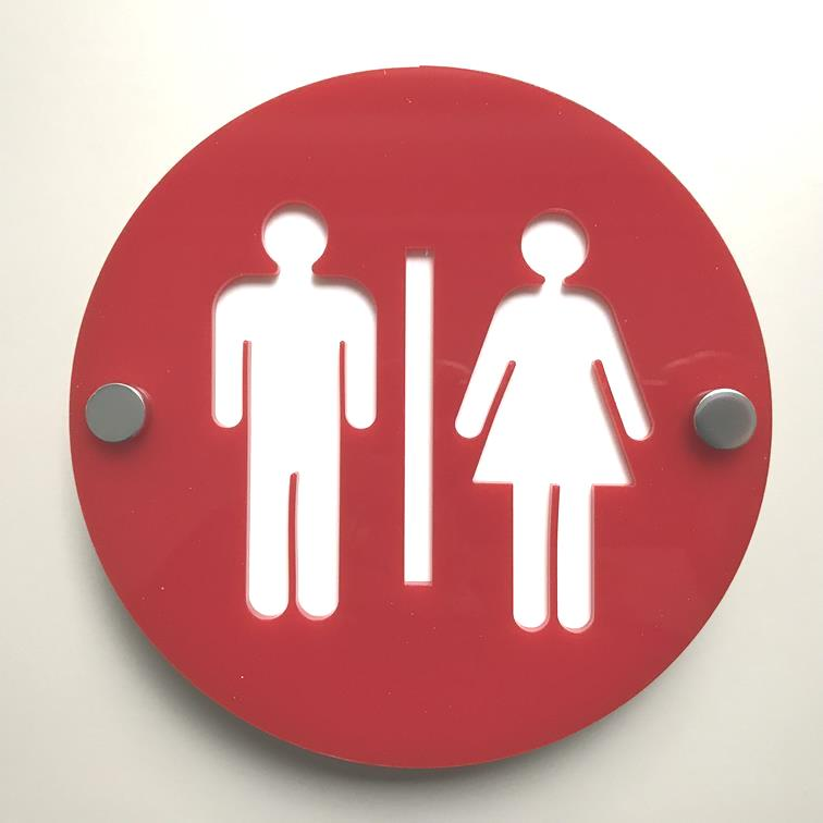 Round Male & Female Toilet Sign - Red & White Gloss Finish