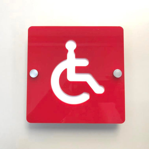 Square Disabled Toilet Sign - Red & White Gloss Finish