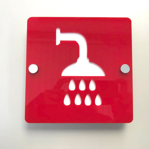 Square Shower Sign - Red & White Gloss Finish