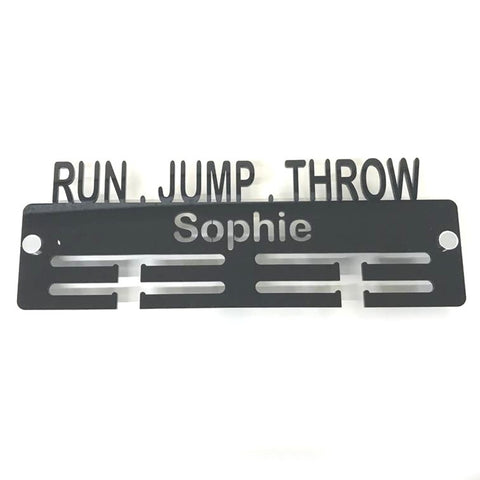 "Personalised ""Run, Jump, Throw"" Medal Hanger"