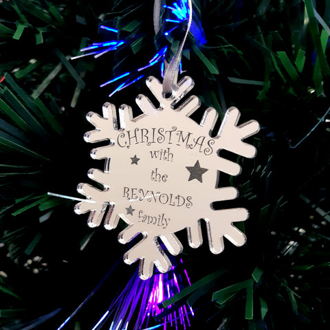 "Snowflake Bespoke ""Christmas with the Family"" Engraved Christmas Tree Decorations Mirrored"