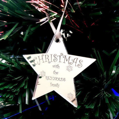 "Star Personalised ""Christmas with the Family"" Engraved Christmas Tree Decorations Mirrored"
