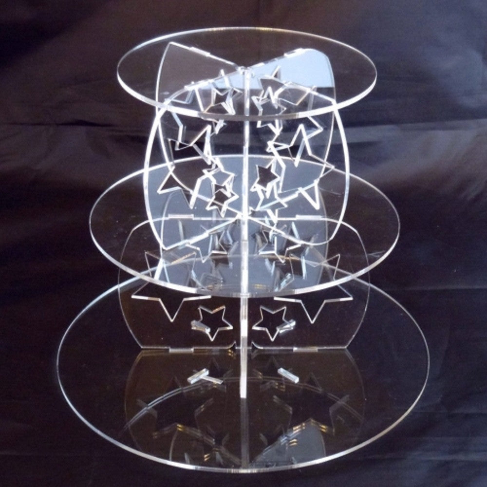 Three Tier Star Design Round Cake Stand