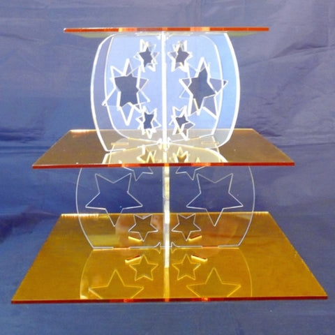 Three Tier Star Design Square Cake Stand