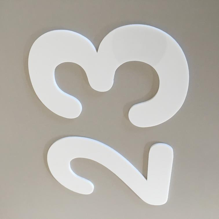 White Gloss, Flat Finish, House Numbers - Rounded