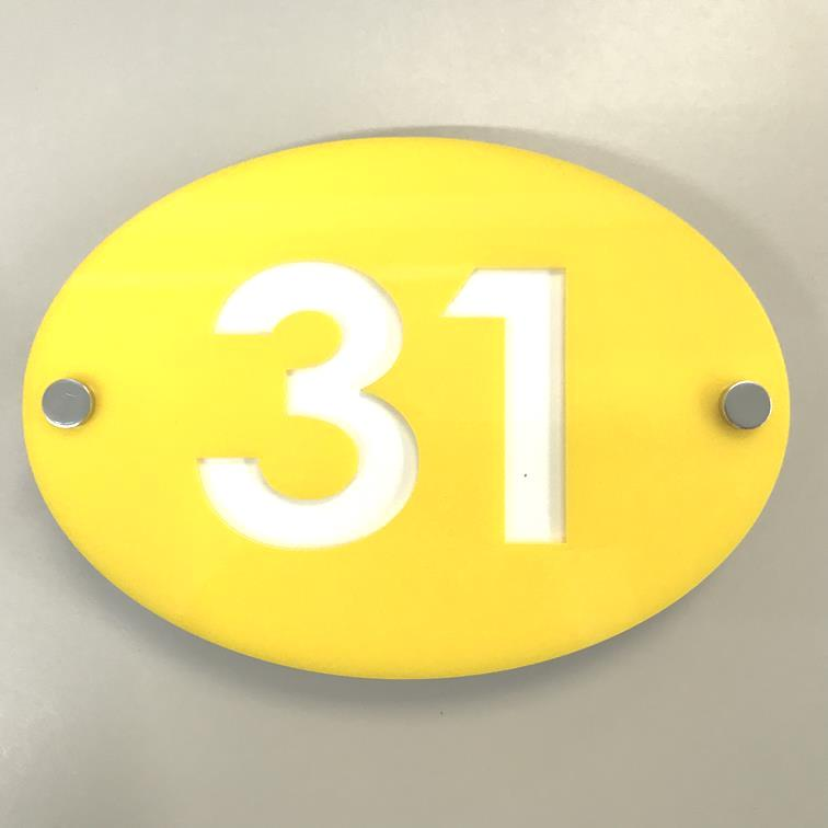 Oval House Number Sign - Yellow & White Gloss Finish